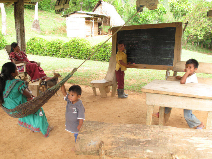 The ancient Ngabere language is taught at this school house in Kiad. (Photo: Richard Arghiris)