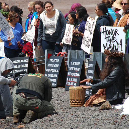 Protest against deep space telescope on the sacred summit of Mauna Kea.