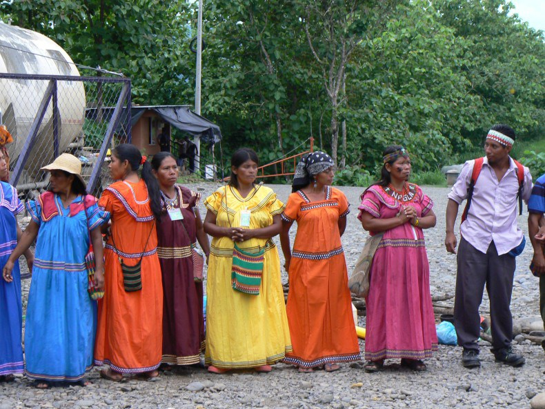 Ngäbe activists standing in front of the Barro Blanco dam site (Photo Jennifer Kennedy)