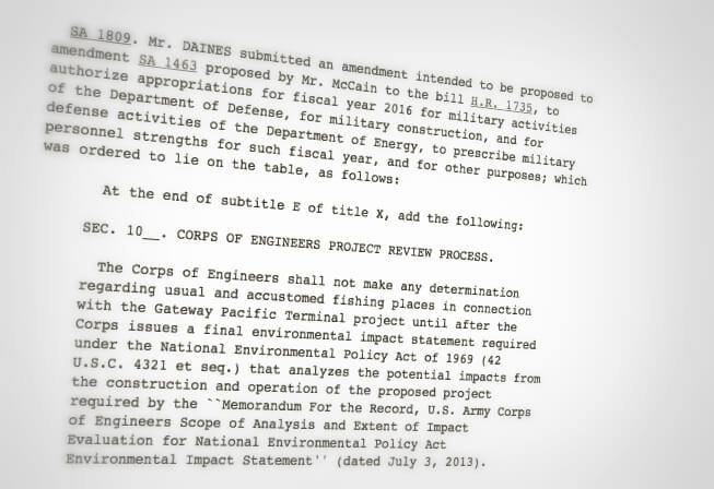 Excerpt of Senate Amendment (S.A.) 1809, proposed by Senator Daines on June 8, 2015
