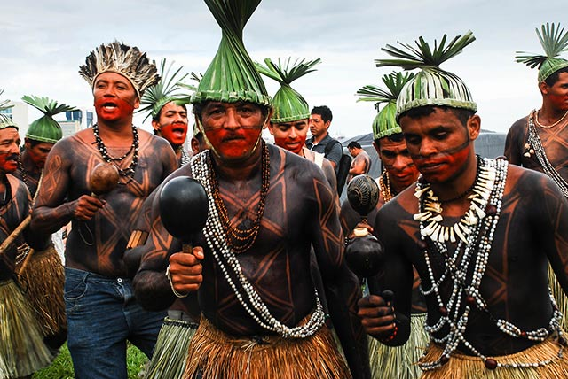 A Xucuru dancer in front of the National Congress in April 2015. The indigenous Xucuru people from the state of Pernambuco are from one of the best-organized groups in Brazil. (Photo: Santiago Navarro F.) Copyright Truthout.org
