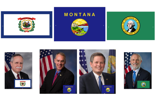 Top row, left to right: state flags of West Virginia, Montana, and Washington State. Bottom row, left to right: Congressman David McKinley (R-W.Va.), Congressman Ryan Zinke (R-MT), U.S. Senator Steve Daines (R-MT), Congressman Dan Newhouse (R-WA).