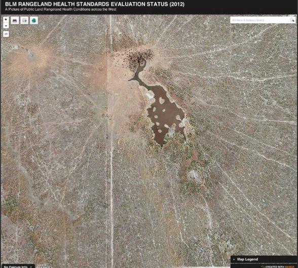 Damage to the land from livestock can be seen in satellite images. Image by High Country News.