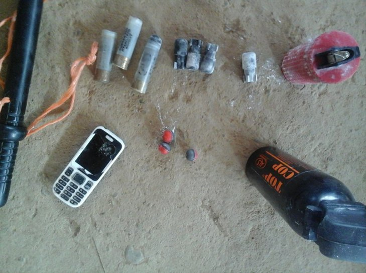 Police ammunition and equipment collected in Gualaquita. Credit: unknown